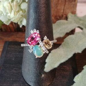Jewelry - Opal Pink Tourmaline Citrine Ring